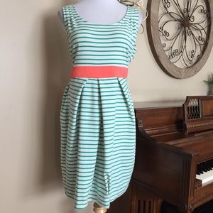 Forever 21 Sz 1X Striped Dress with Coral Tieback